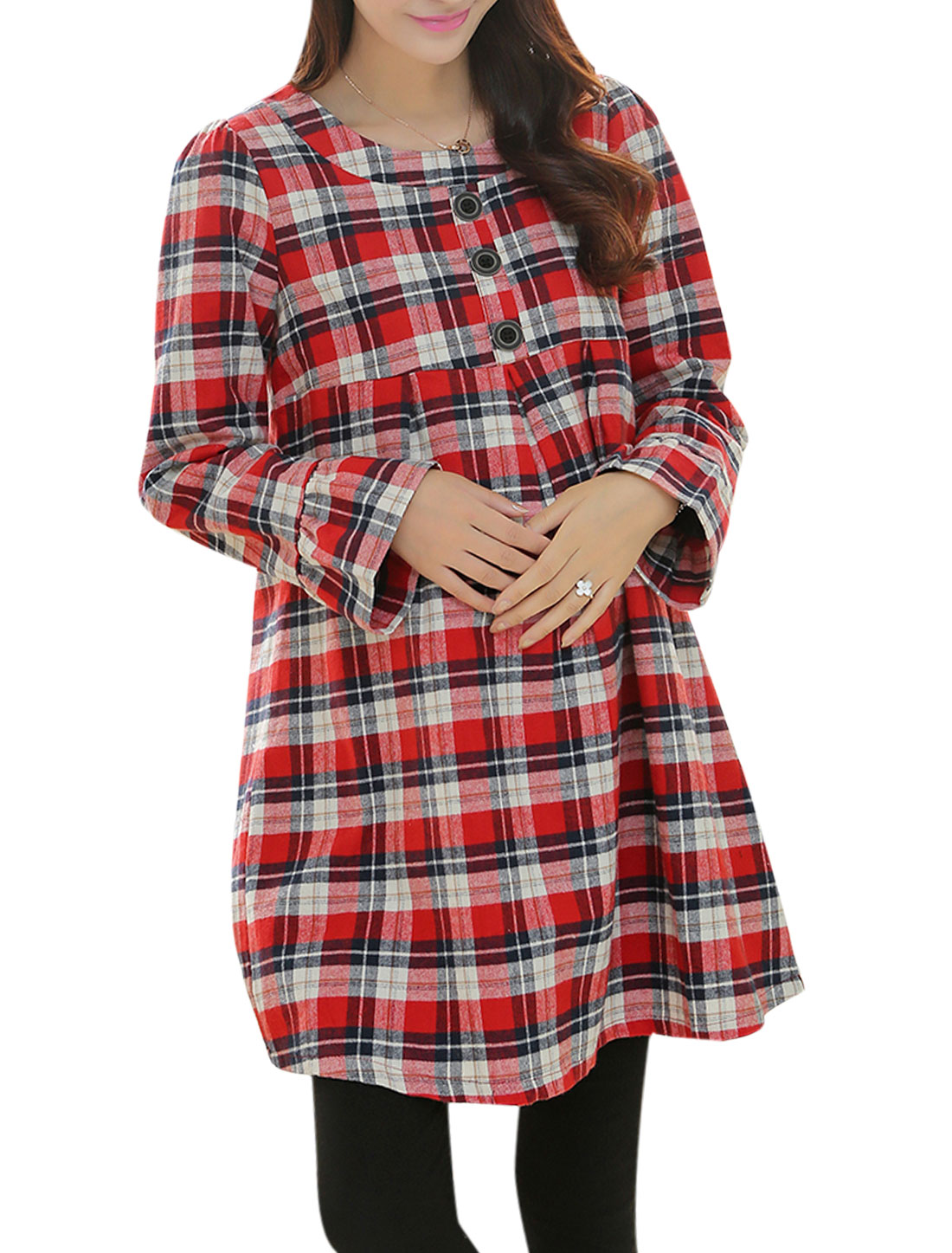 Maternity Slipover Plaids Pattern Casual Short Dress Red Navy Blue M
