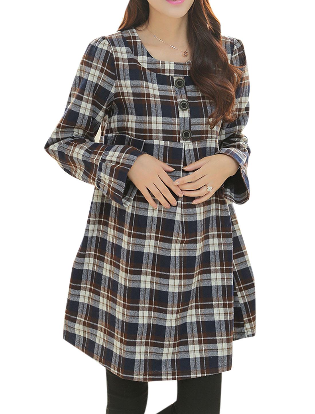 Pregnant Women Checks Pattern Long Sleeve Short Dress Navy Blue Brown M