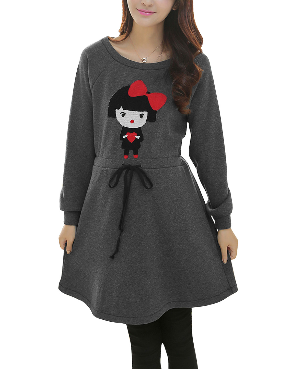 Maternity Soft Raglan Sleeve Applique Pattern Casual Dress Dark Gray L