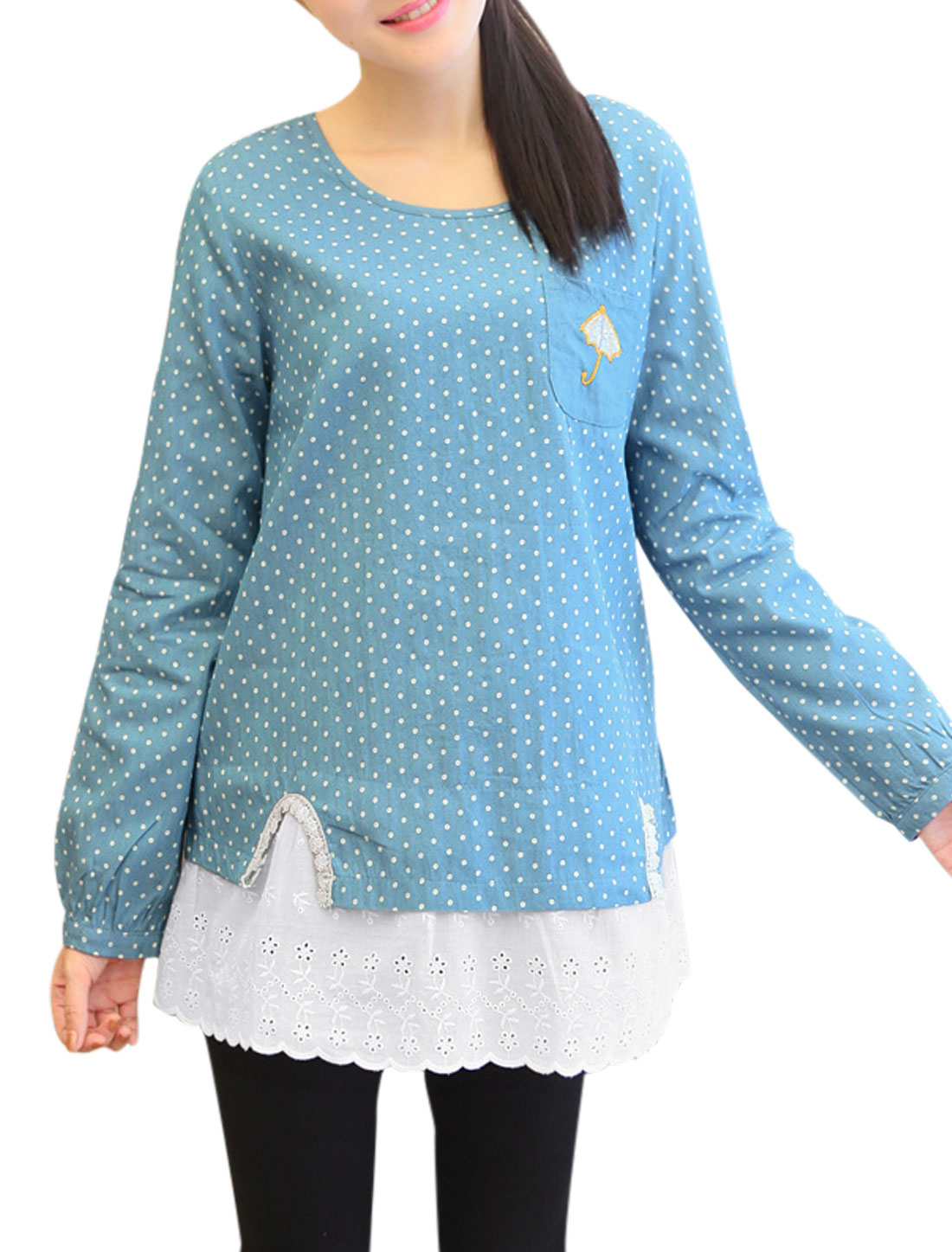 Maternity Pullover Dots Pattern Long Sleeve Tunic Top Light Blue L