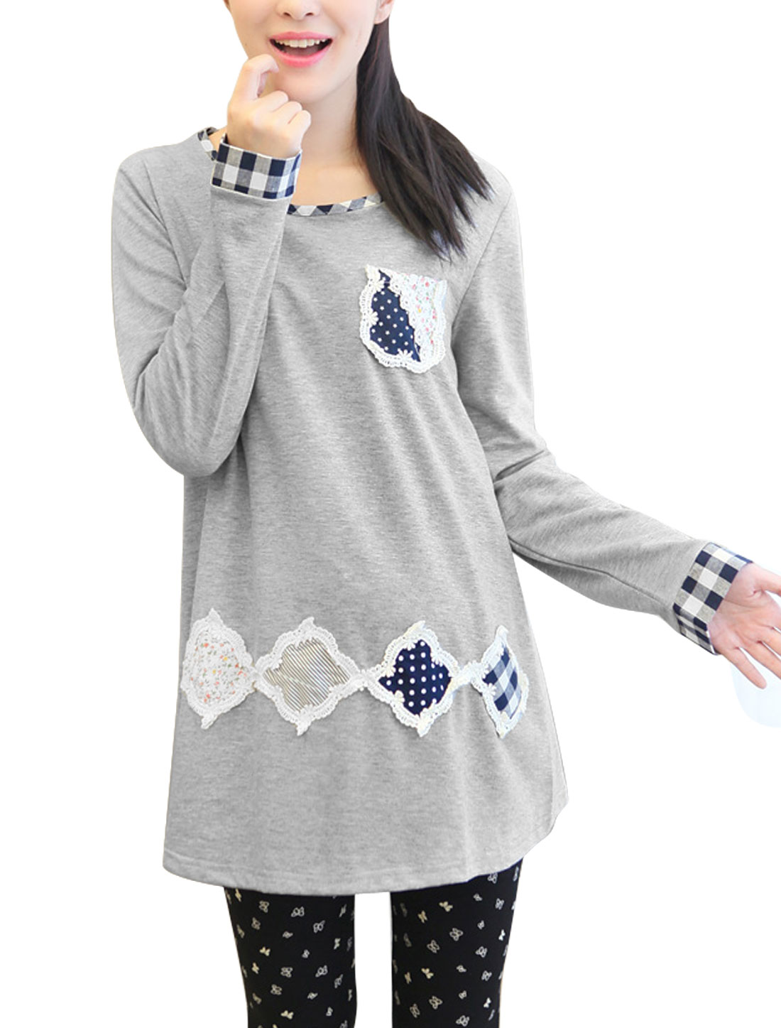 Maternity Applique Pattern One Bust Pocket Round Hem T-shirt Light Gray M