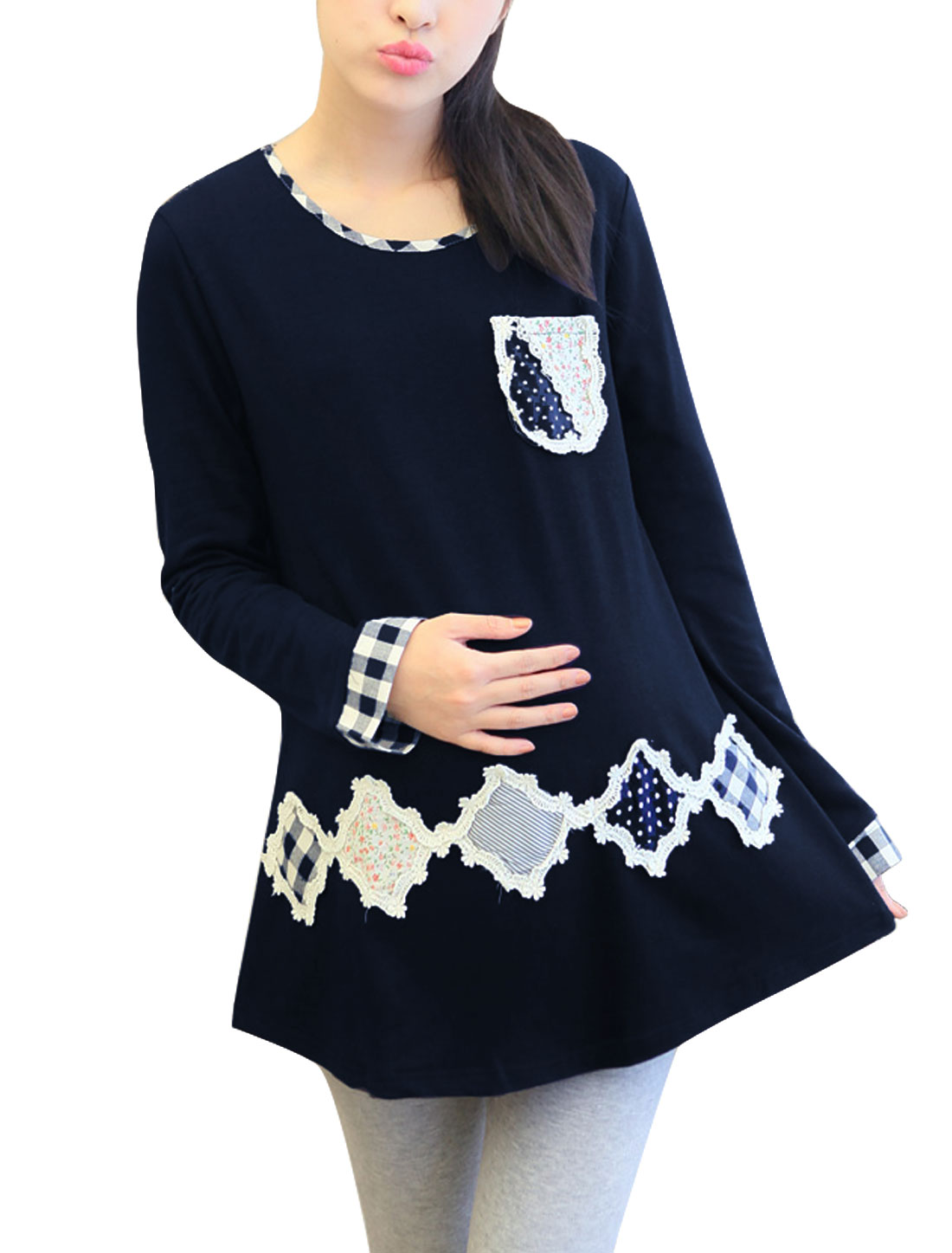 Maternity Pullover Applique Pattern Leisure Tee Shirt Navy Blue M