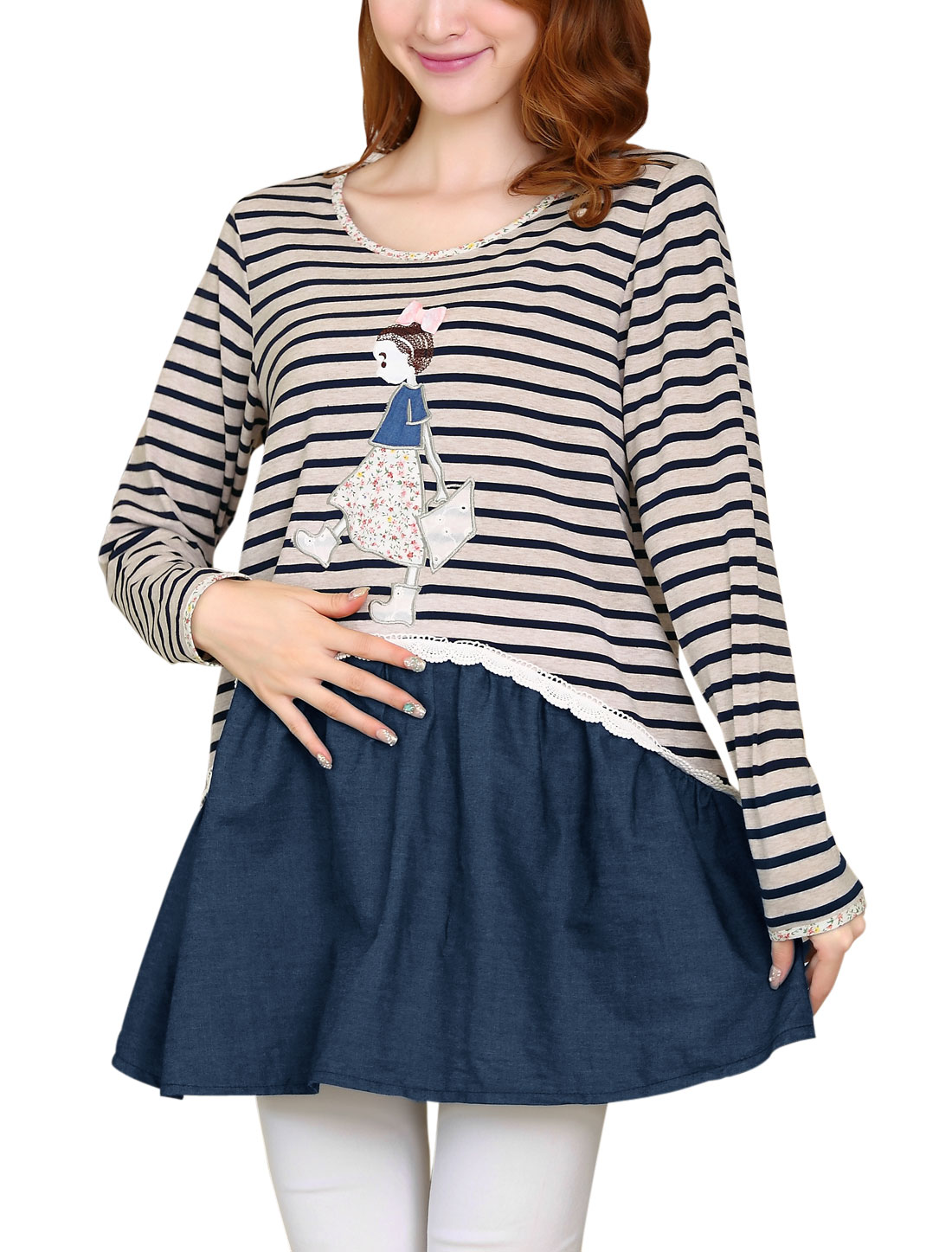 Maternity Stripes Cartoon Applique Pattern Spliced Tunic Top Beige Navy Blue M