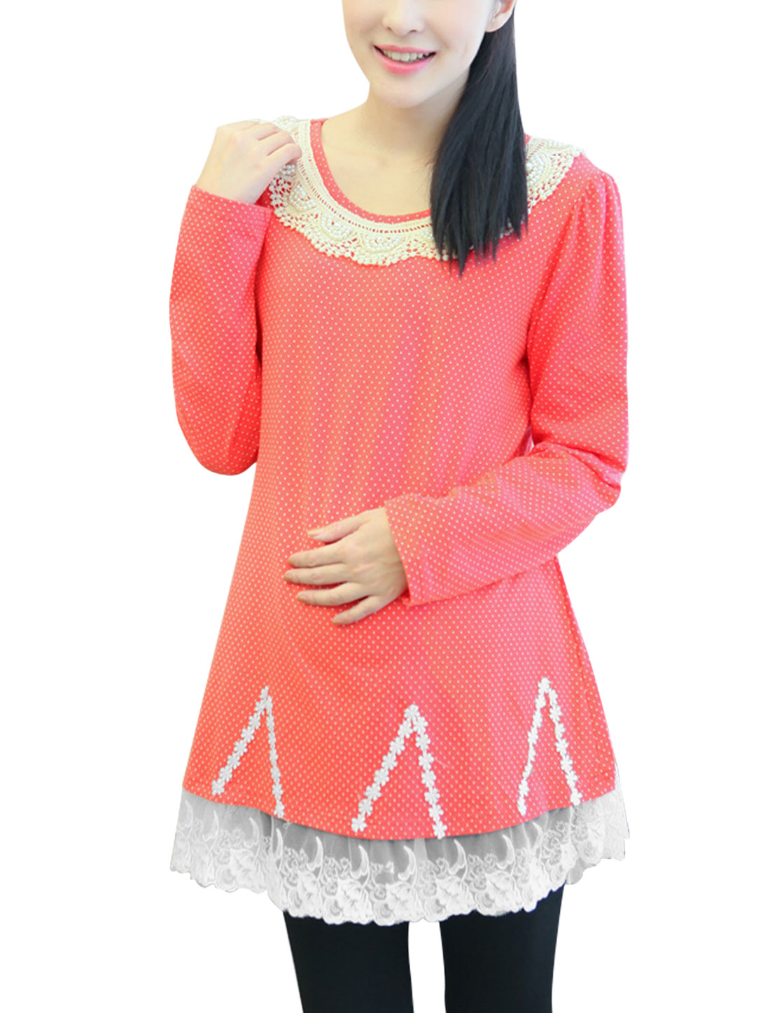 Maternity Crochet Round Neck Dots Pattern Lace Hem Soft Top Watermelon Red M