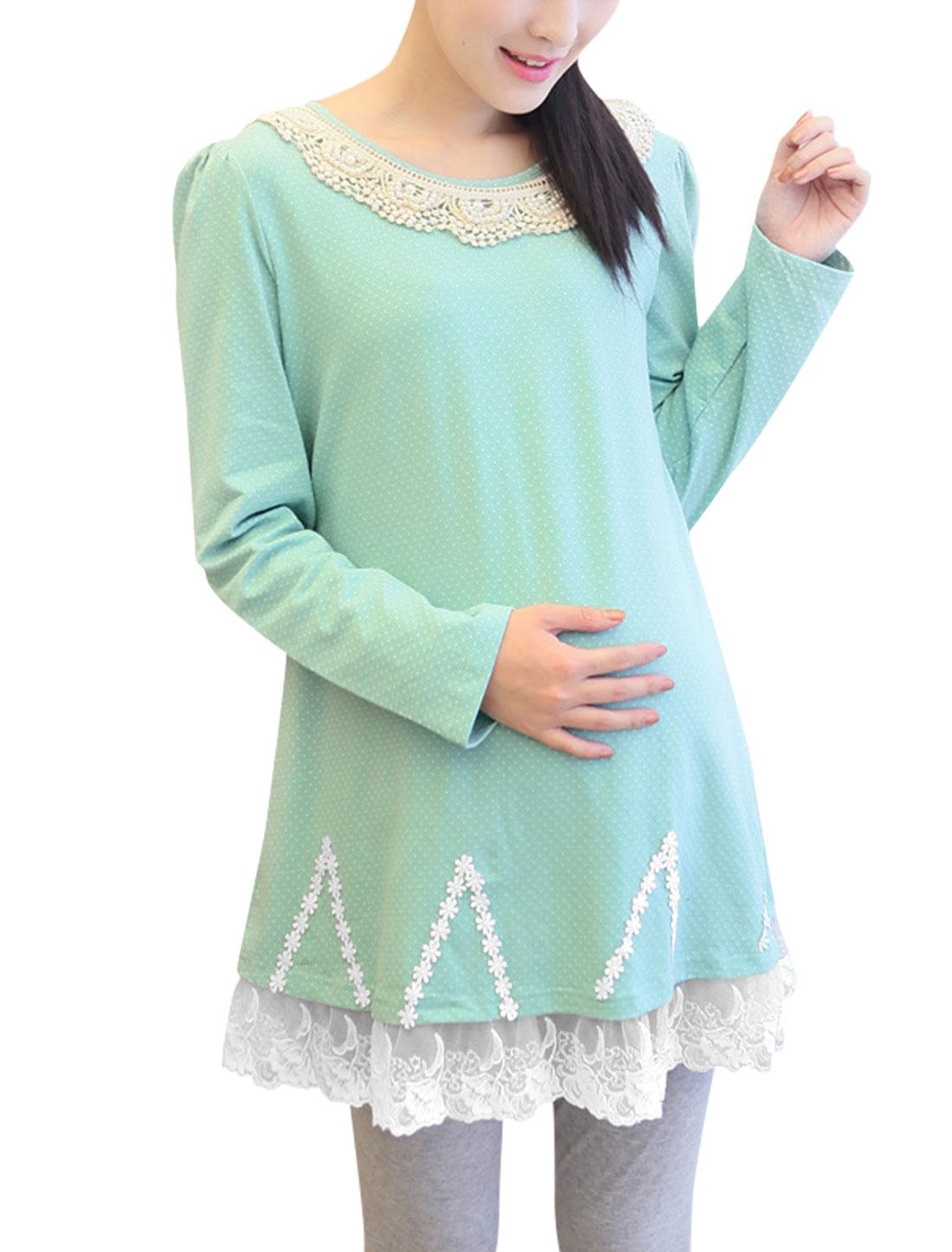 Maternity Crochet Decor Dots Pattern Lace Hem Soft Top Mint M