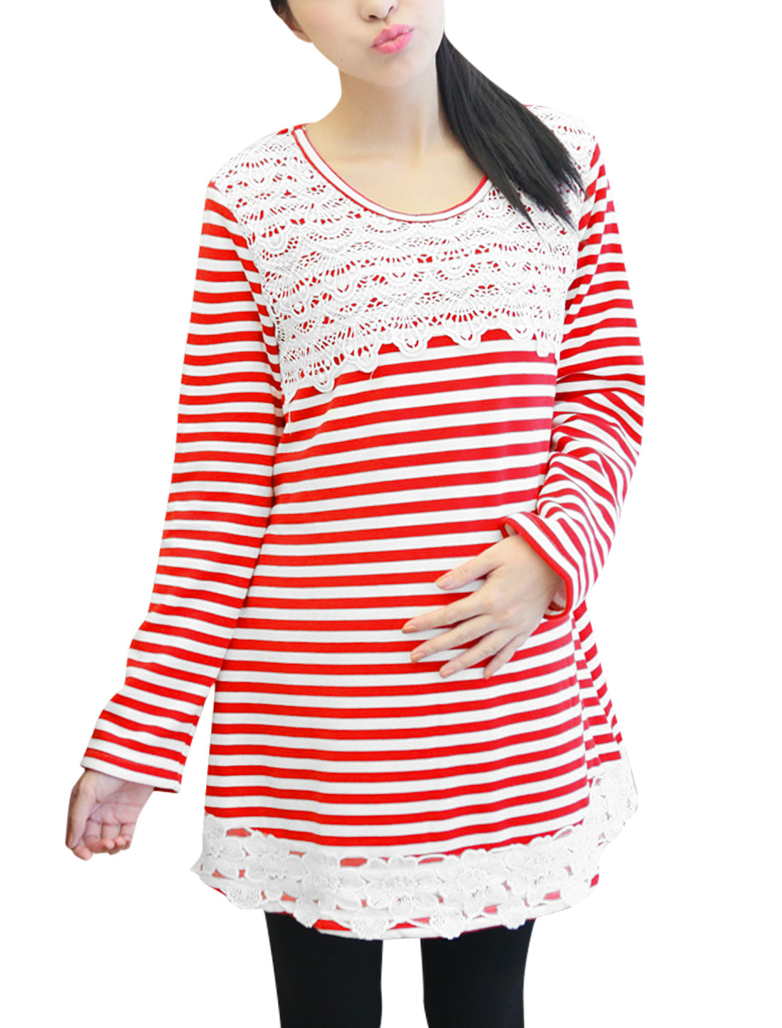 Maternity Stripes Tunic Top w Removable Tie Straps Back Red White L