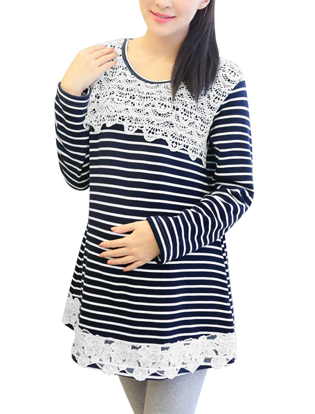 Maternity Pullover Stripes Crochet Panel Tunic Top Navy Blue White L