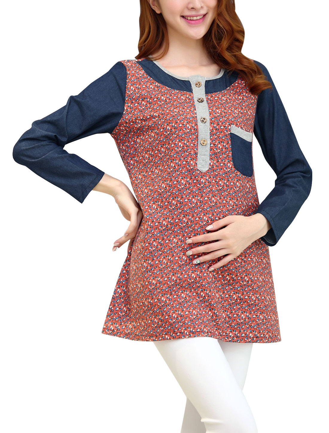 Maternity Splicing Floral Pattern Leisure Tunic Top Salmon L