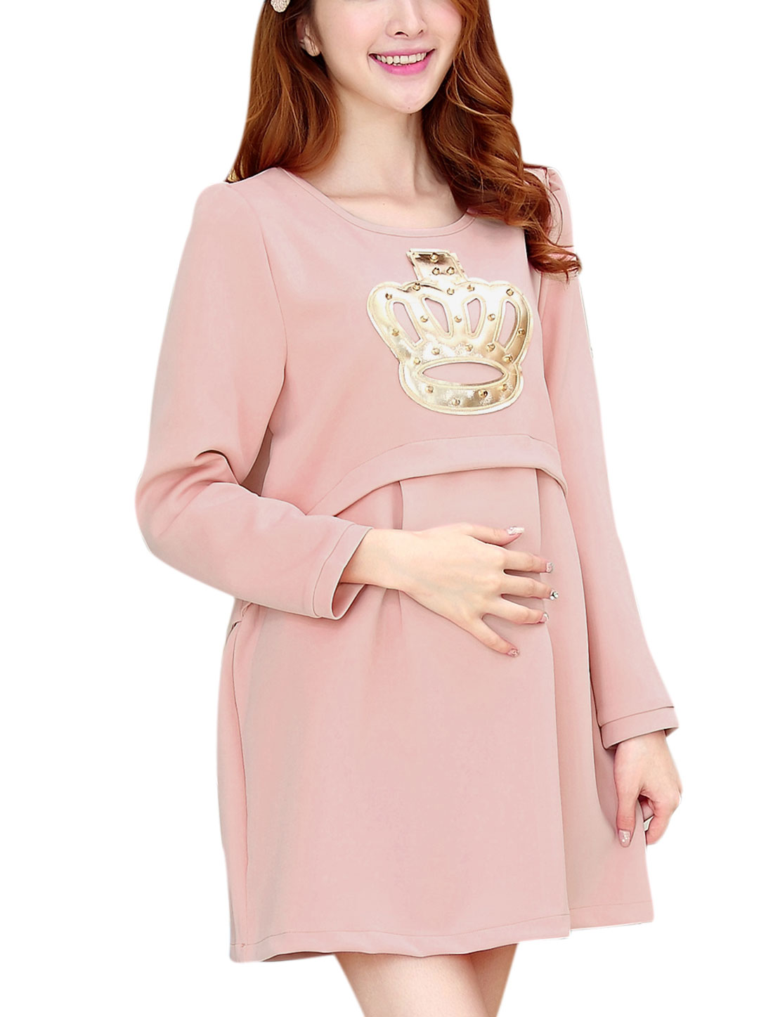 Maternity Long Sleeve Studs Embellished Slipover Short Dress Pink M
