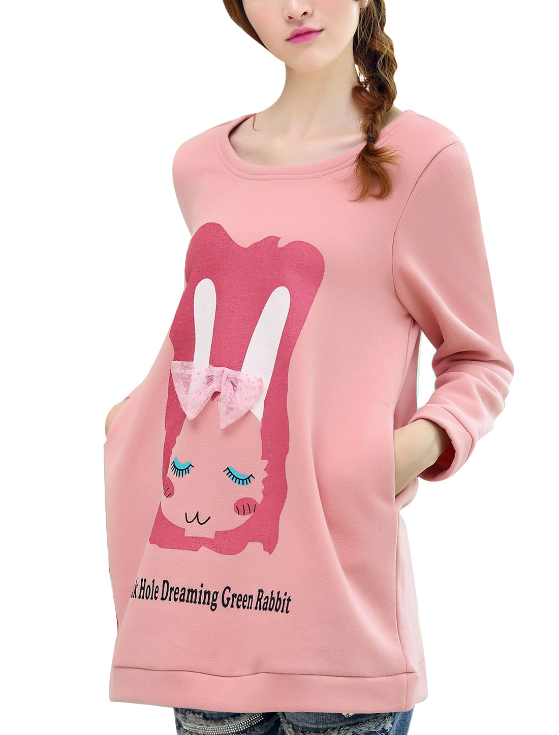 Maternity Lovely Style Rabbit Letters Prints Long Sweatshirt Pink L