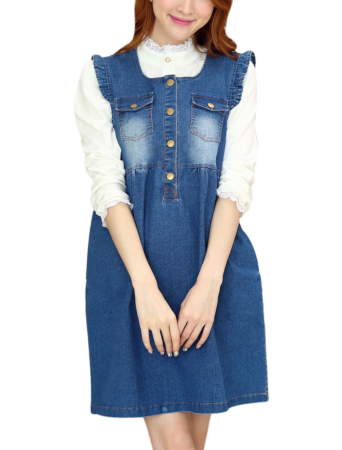 Maternity Button Closure Double Bust Pockets Sleeveless Denim Dress Blue M