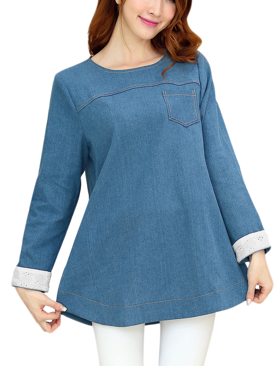 Maternity Single Bust Pocket Button Decor Zipper Back Denim Top Blue L
