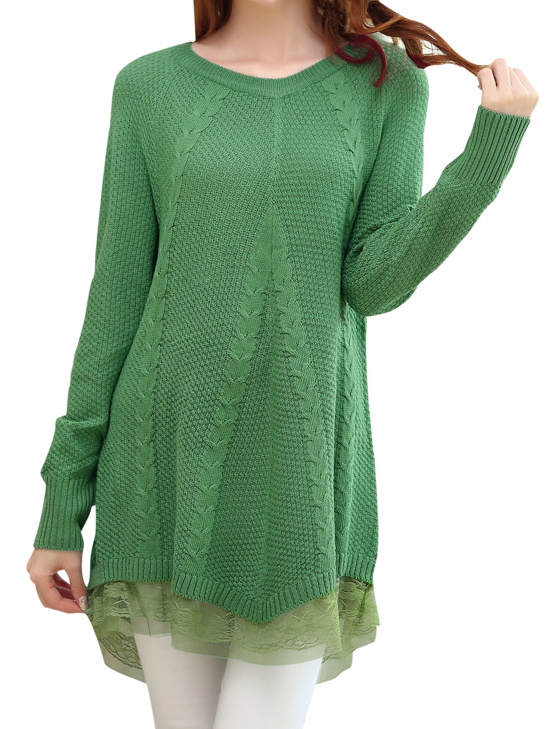 Maternity Round Neck Raglan Sleeve Lace Patchwork Hem Tunic Sweater Light Green M