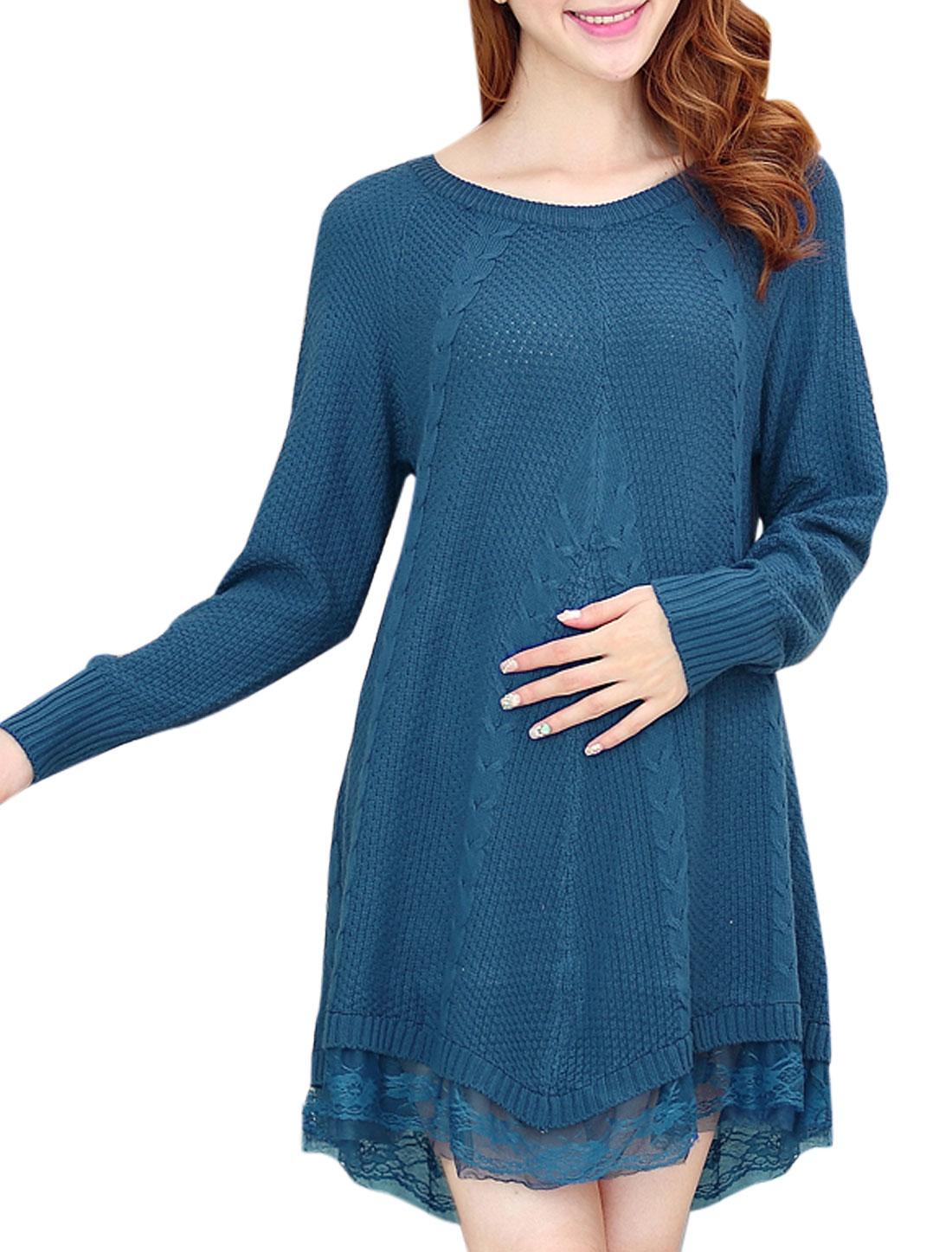 Maternity Raglan Sleeve Semi Sheer Hem Pullover Tunic Sweater Blue M