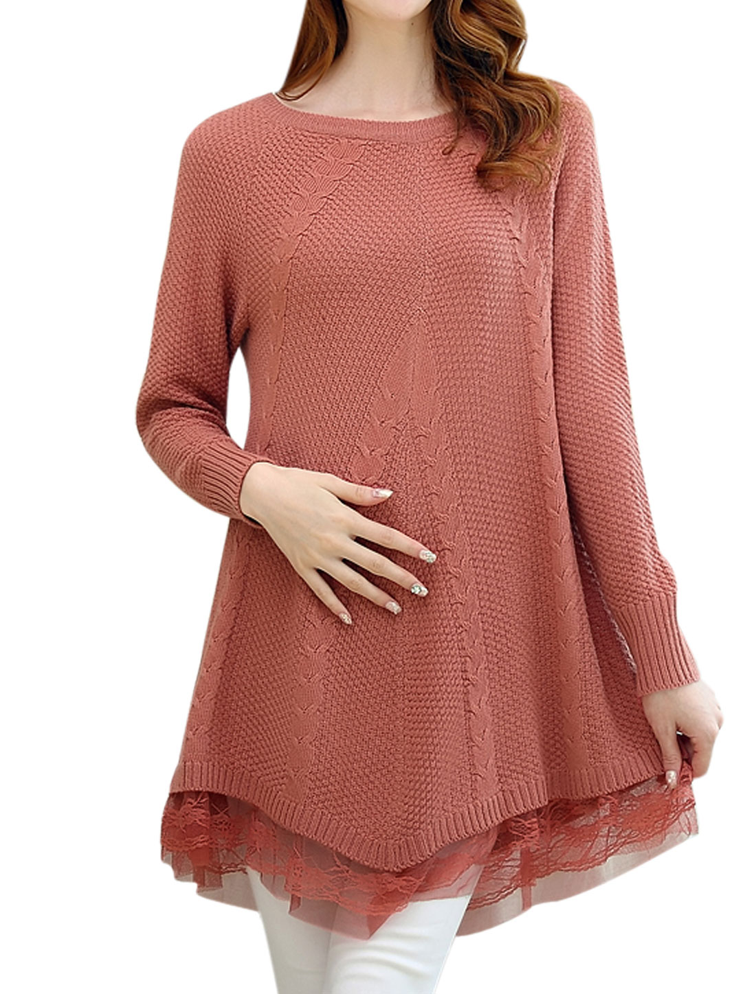 Pregnant Women Raglan Sleeve Slipover Casual Tunic Sweater Salmon M