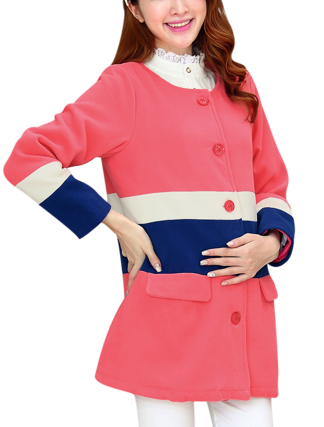 Maternity Single Breasted Vertical Pockets Color Block Pea Coat Fuchsia M
