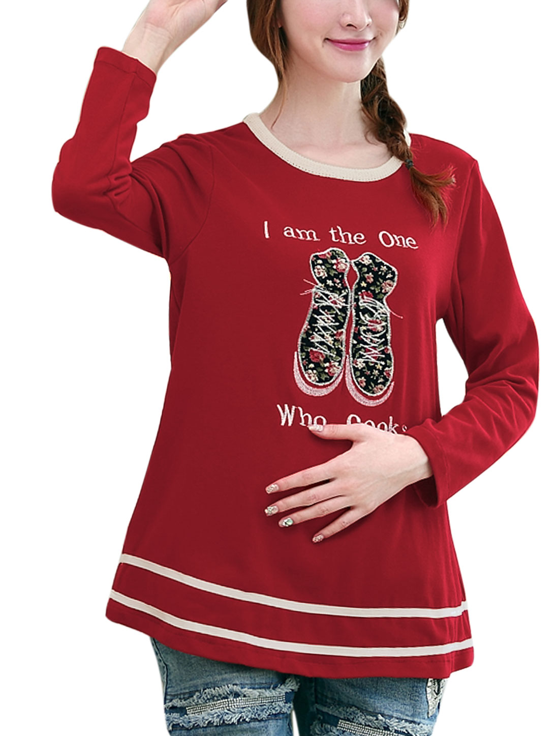 Maternity Round Neck Letters Shoes Applique Pattern Casual T-shirt Red M