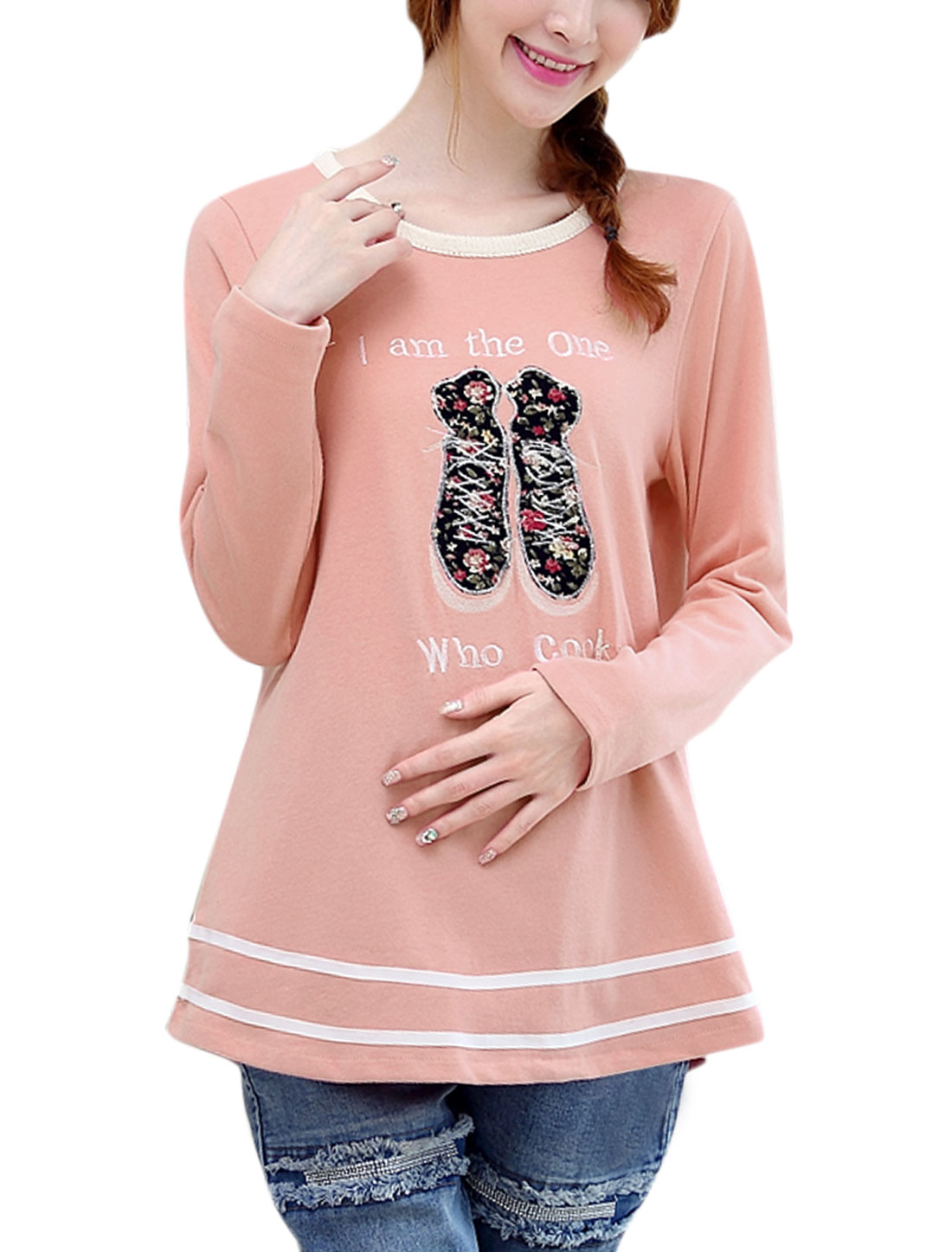 Maternity Pullover Long Sleeve Letters Pattern Casual T-shirt Pink M