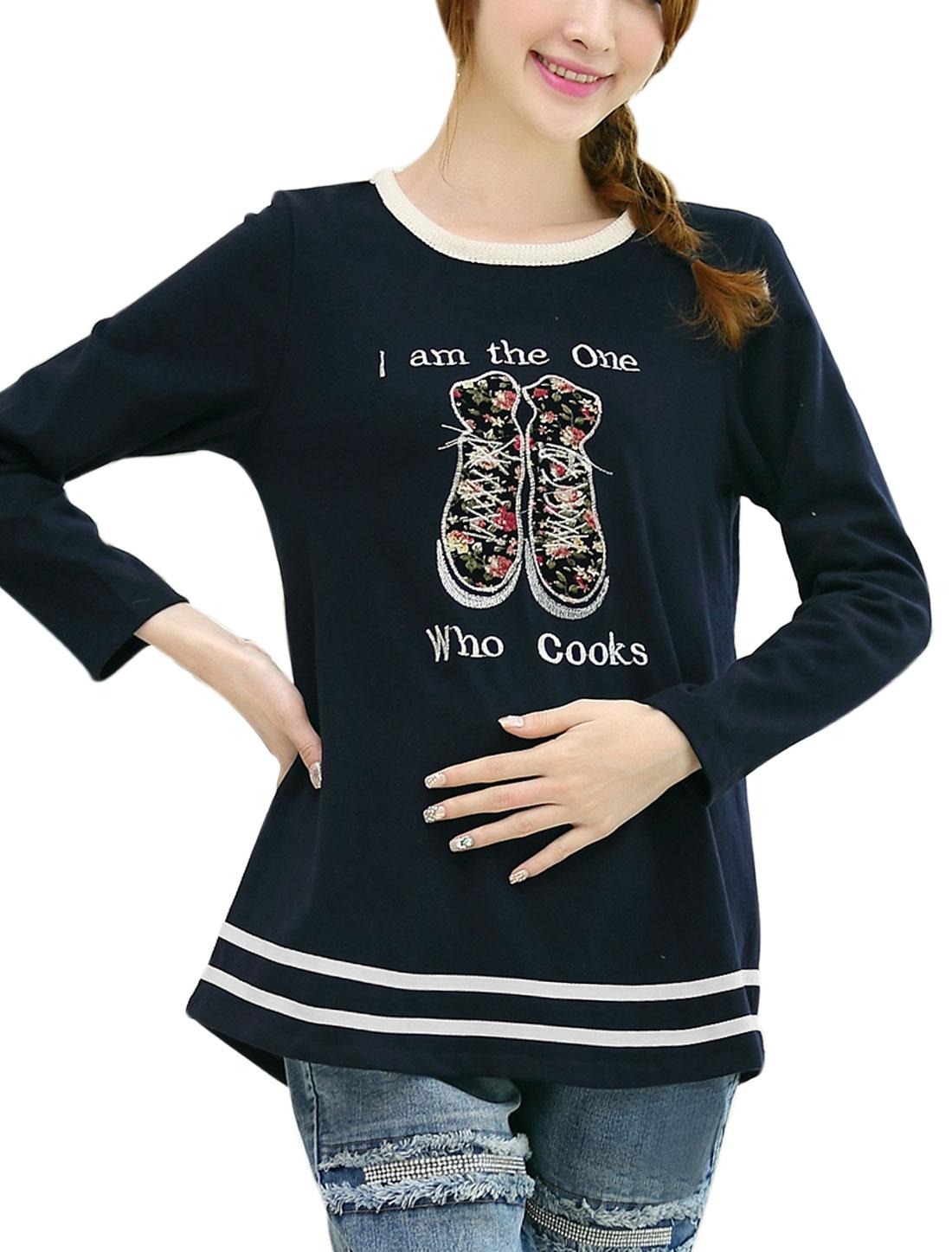 Pregnant Women Letters Pattern Round Hem Slipover T-shirt Navy Blue M