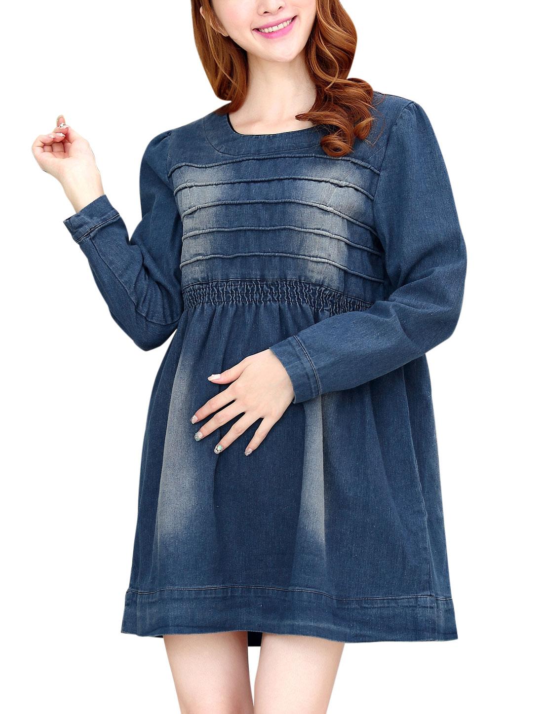 Maternity Round Neck Elastic Waist Stitched Design Denim Dress Blue S