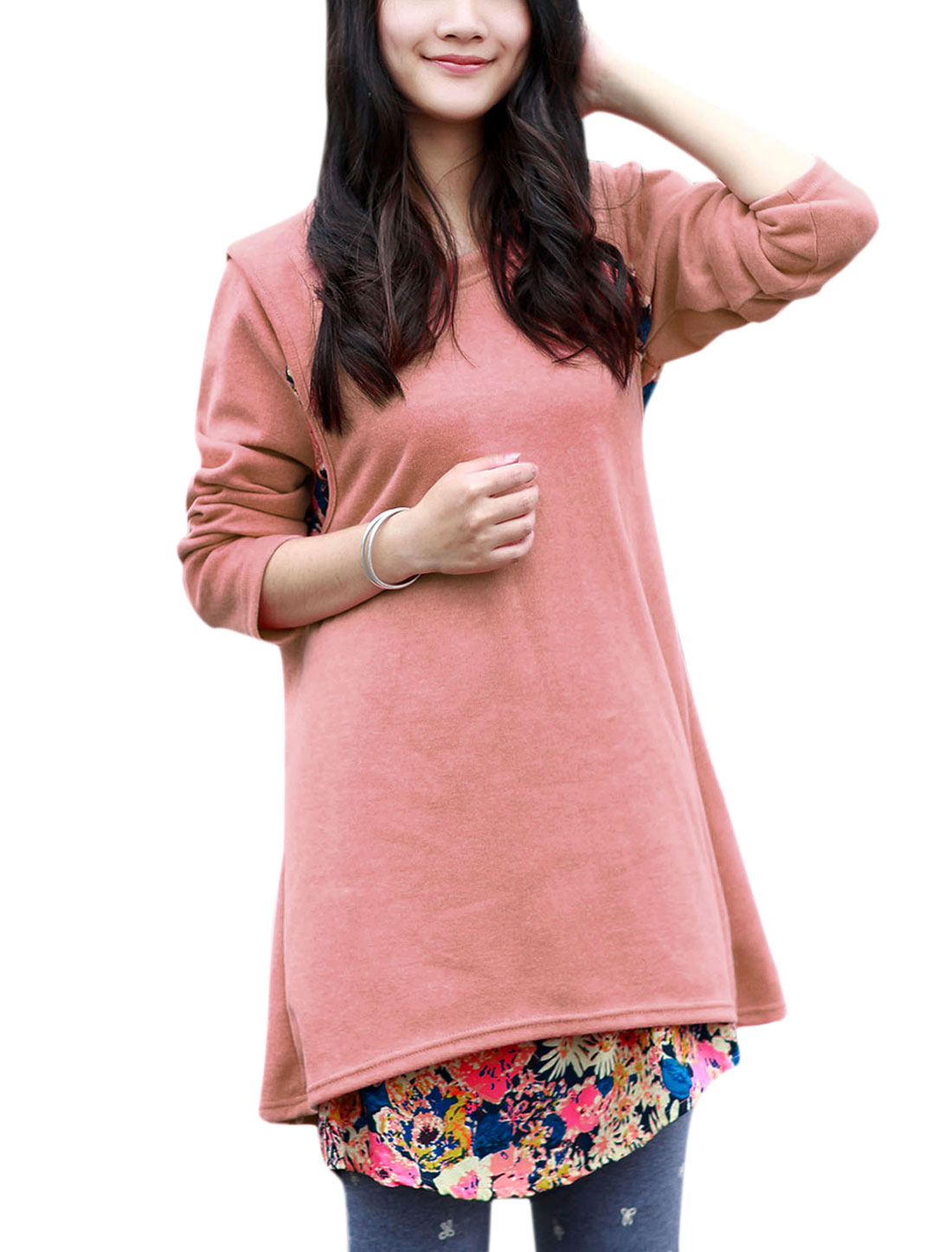 Maternity Floral Print Layered Shirts Overlay Split Back Soft Blouse Pink L