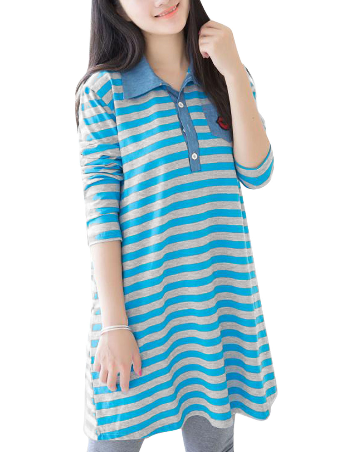 Maternity Red Lips Applique Point Collar Striped Dress Blue Light Gray M