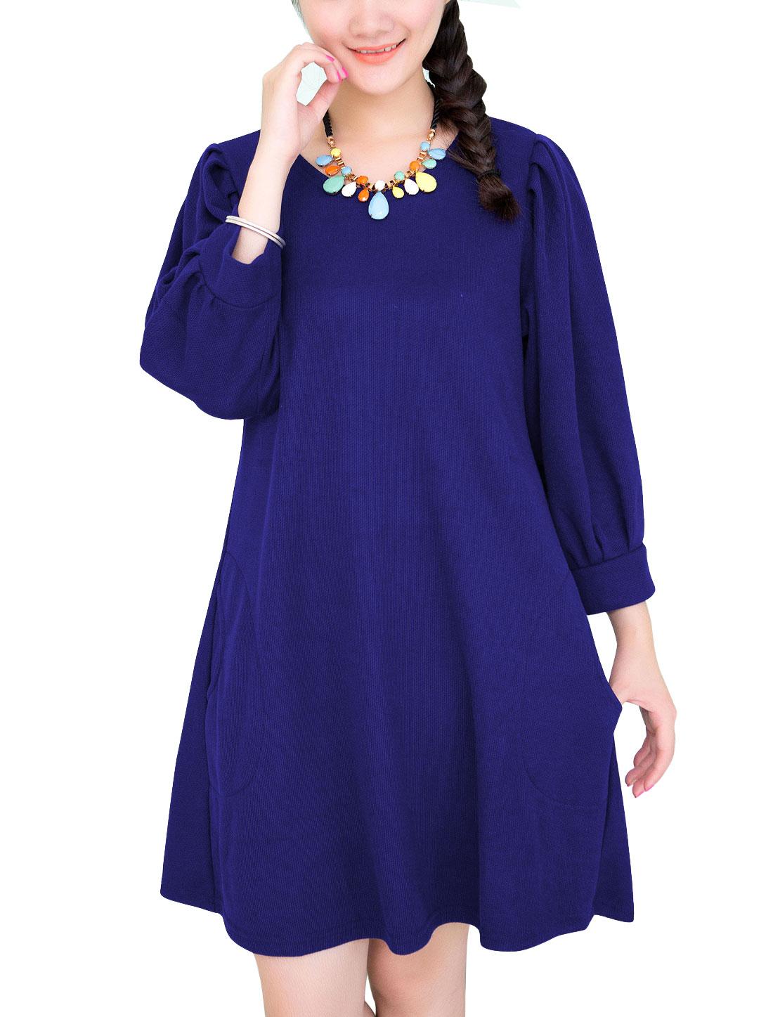 Maternity 3/4 Lantern Sleeves Double Side Pockets Dress Dark Blue M