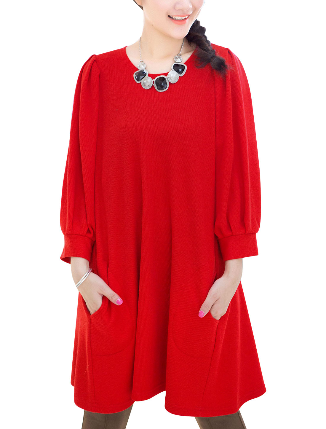 Maternity Newly Soft 3/4 Lantern Sleeves Two Side Pockets Dress Red M