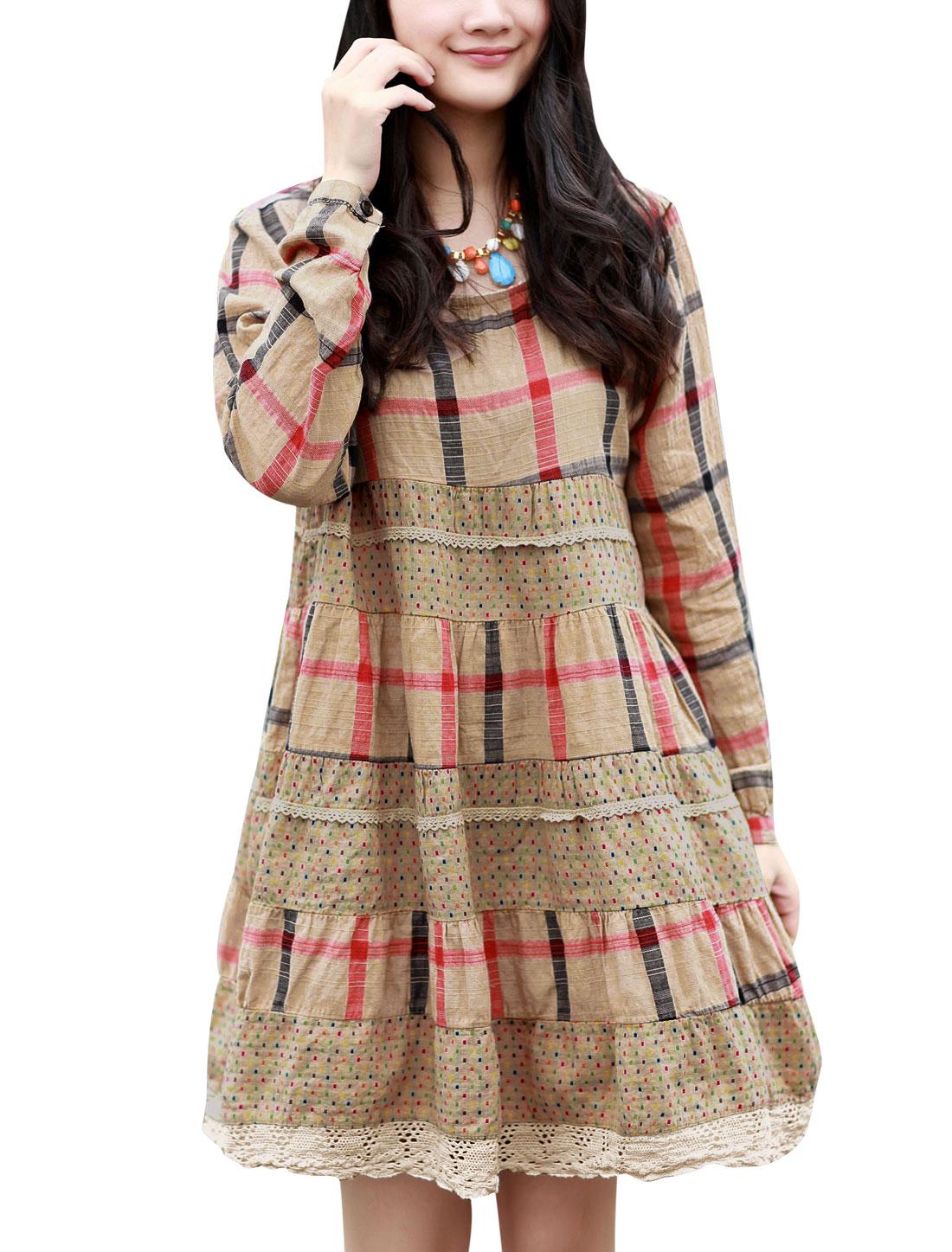Maternity Dots Check Pattern Button Closure Back Casual Dress Khaki M