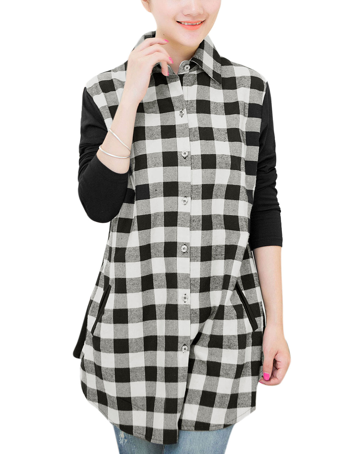 Maternity Long Contrast Sleeves Plaids Pattern Leisure Shirt Black White XL