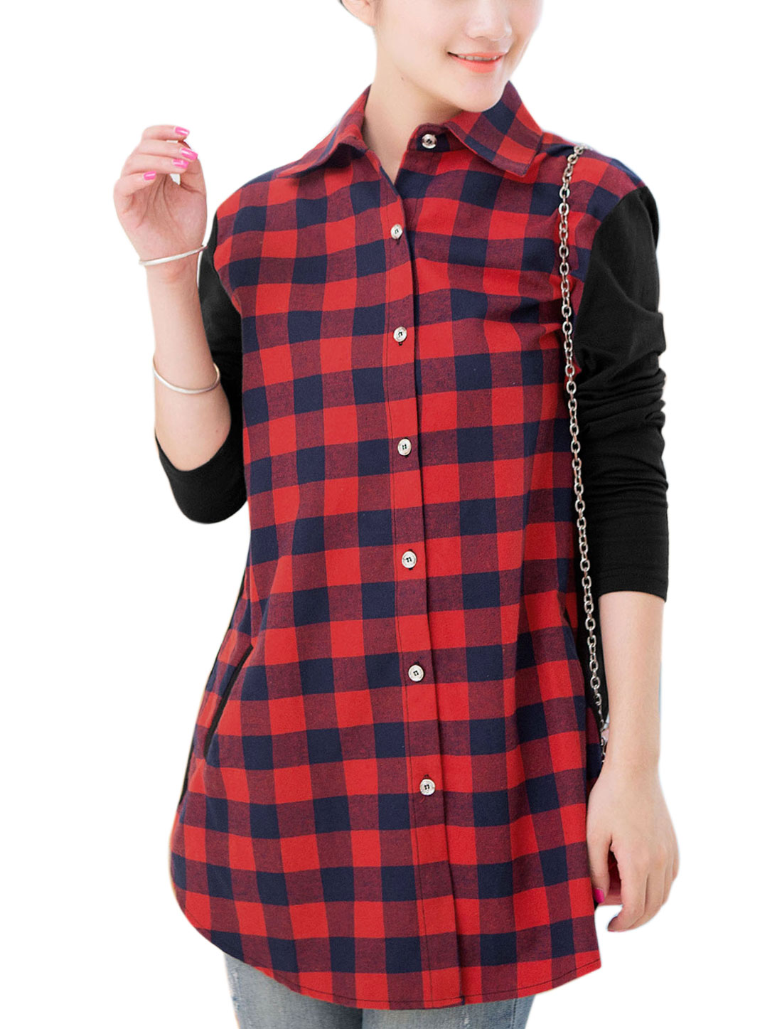 Maternity Spliced Design Plaids Pattern Leisure Shirt Navy Blue Red XL