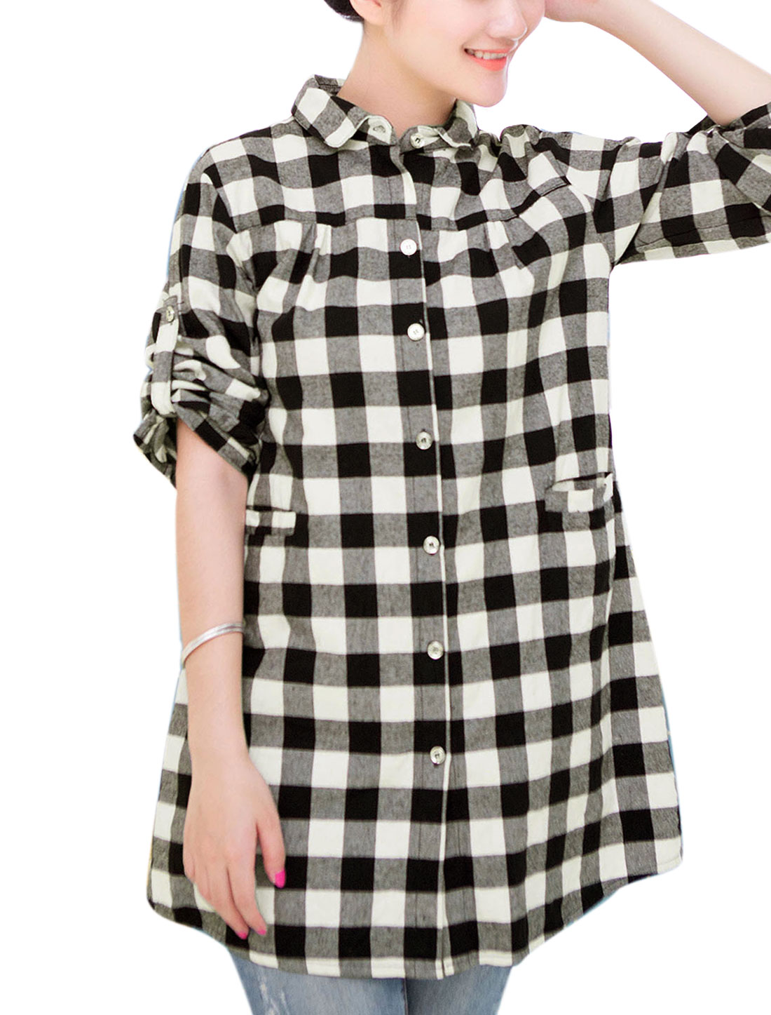 Motherhood Plaids Pattern Roll Up Cuffs Welt Pockets Leisure Tunic Shirt Black White XL