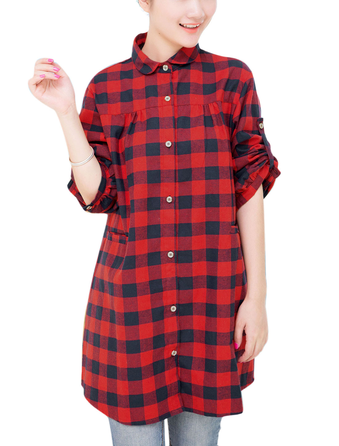 Motherhood Plaids Pattern Single Breasted Welt Pockets Tunic Shirt Navy Blue Red XL