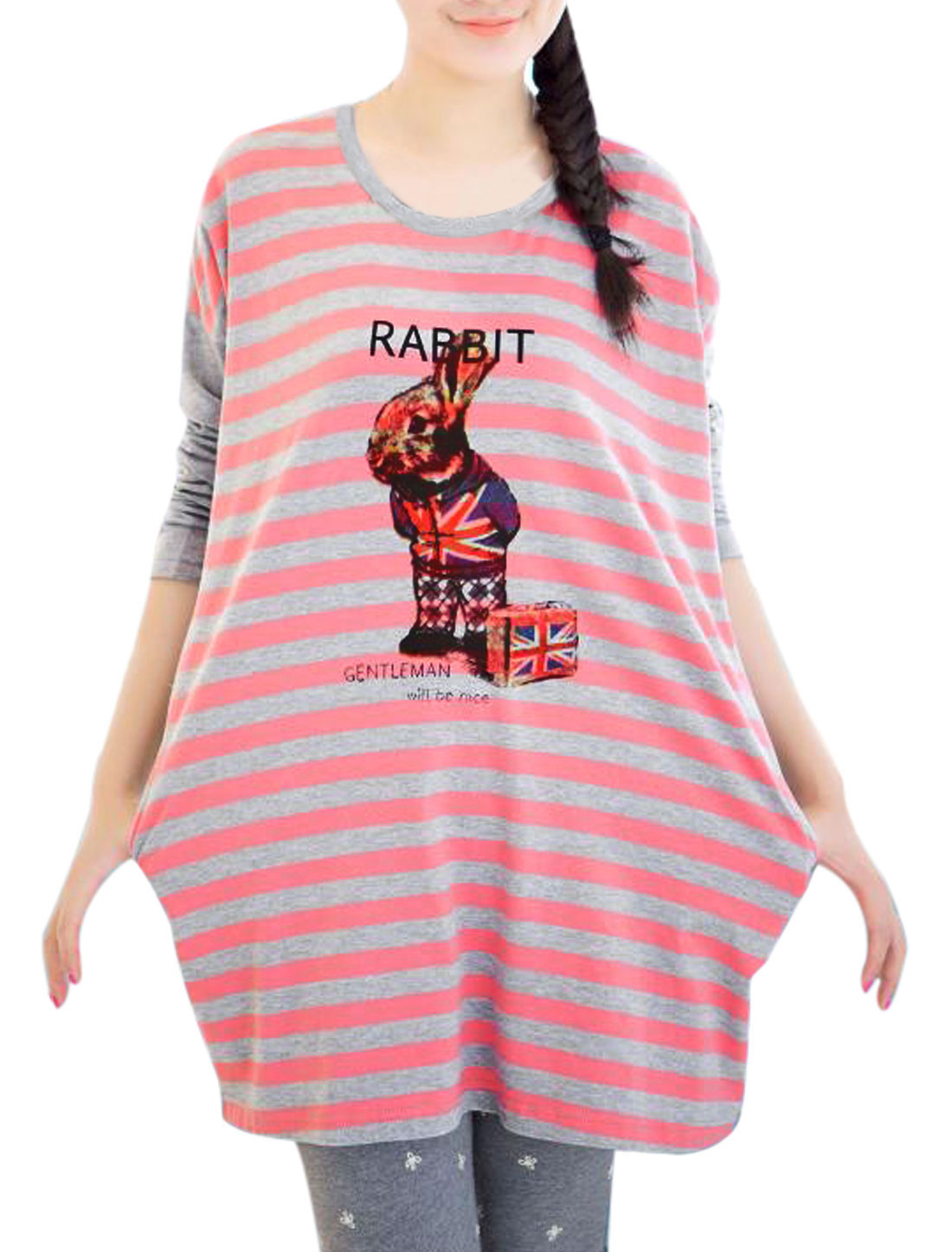 Motherhood Dolman Sleeves Stripes Rabbit Letters Printed Blouse Pink Light Gray XL