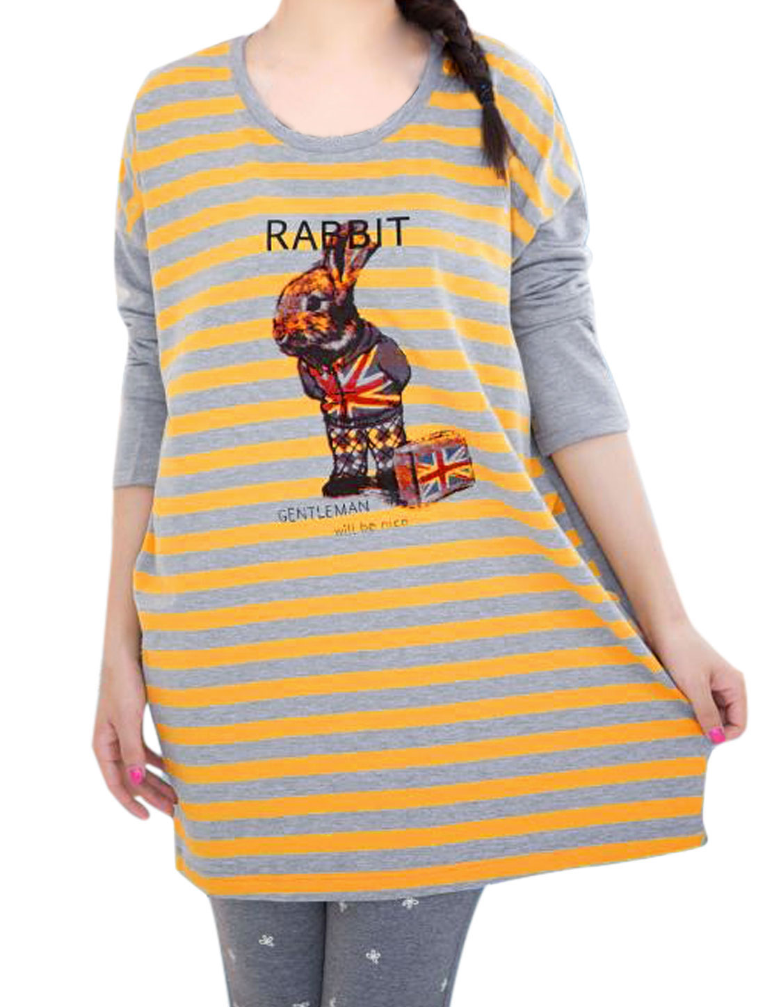 Motherhood Dolman Design Stripes Rabbit Letters Printed Blouse Yellow Light Gray XL