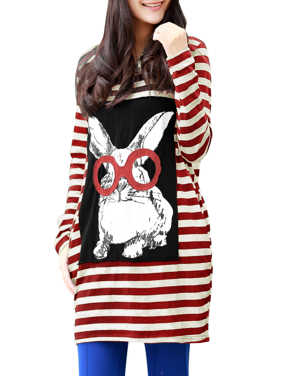 Motherhood Two Side Pockets Stripes Rabbit Printed Stretchy T-Shirt Red Beige L