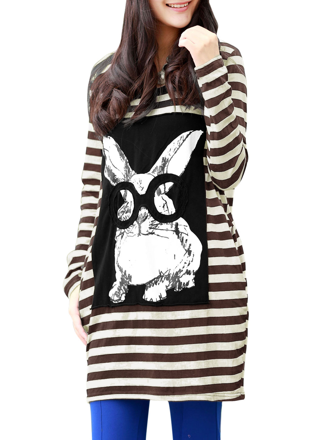 Motherhood Round Neck Stripes Rabbit Printed Stretchy T-Shirt Brown Beige L