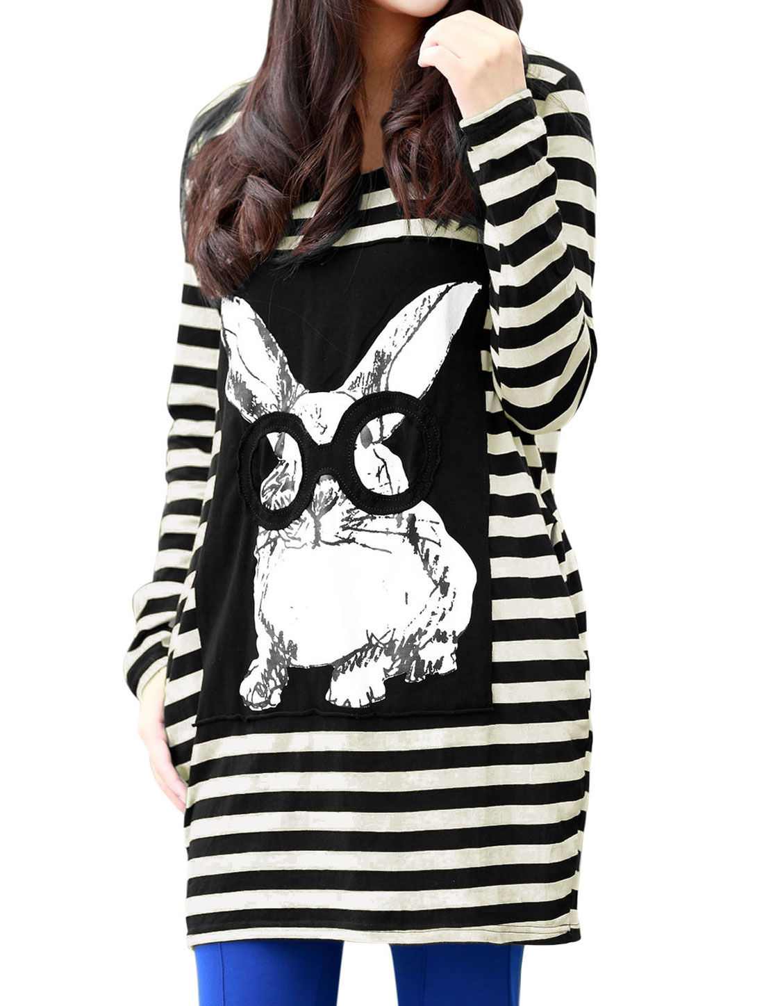 Maternity Round Neck Stripes Rabbit Printed Stretchy Top Shirt Black Beige L