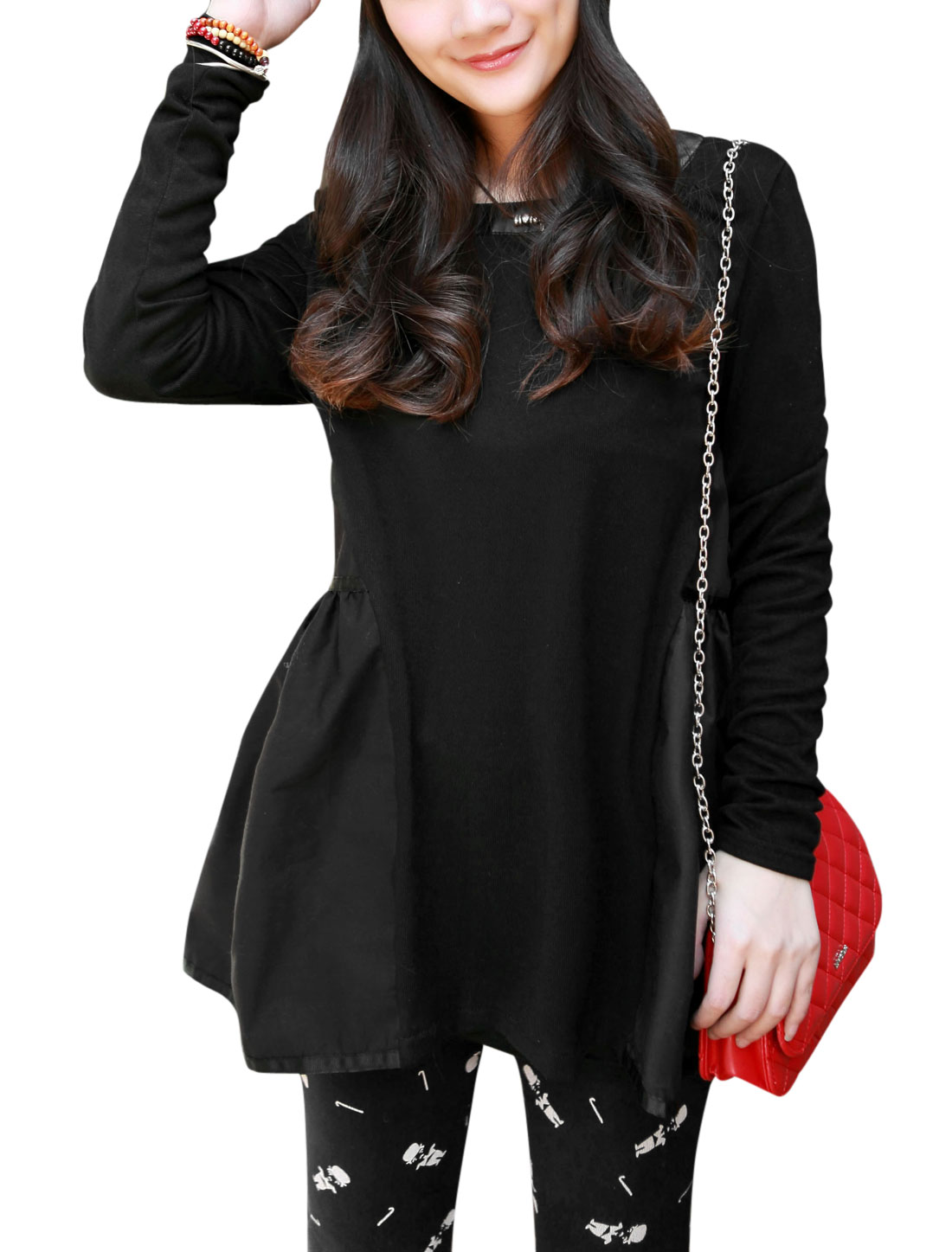 Maternity Slipover Panel Design Cozy Fit Top Shirt Black L