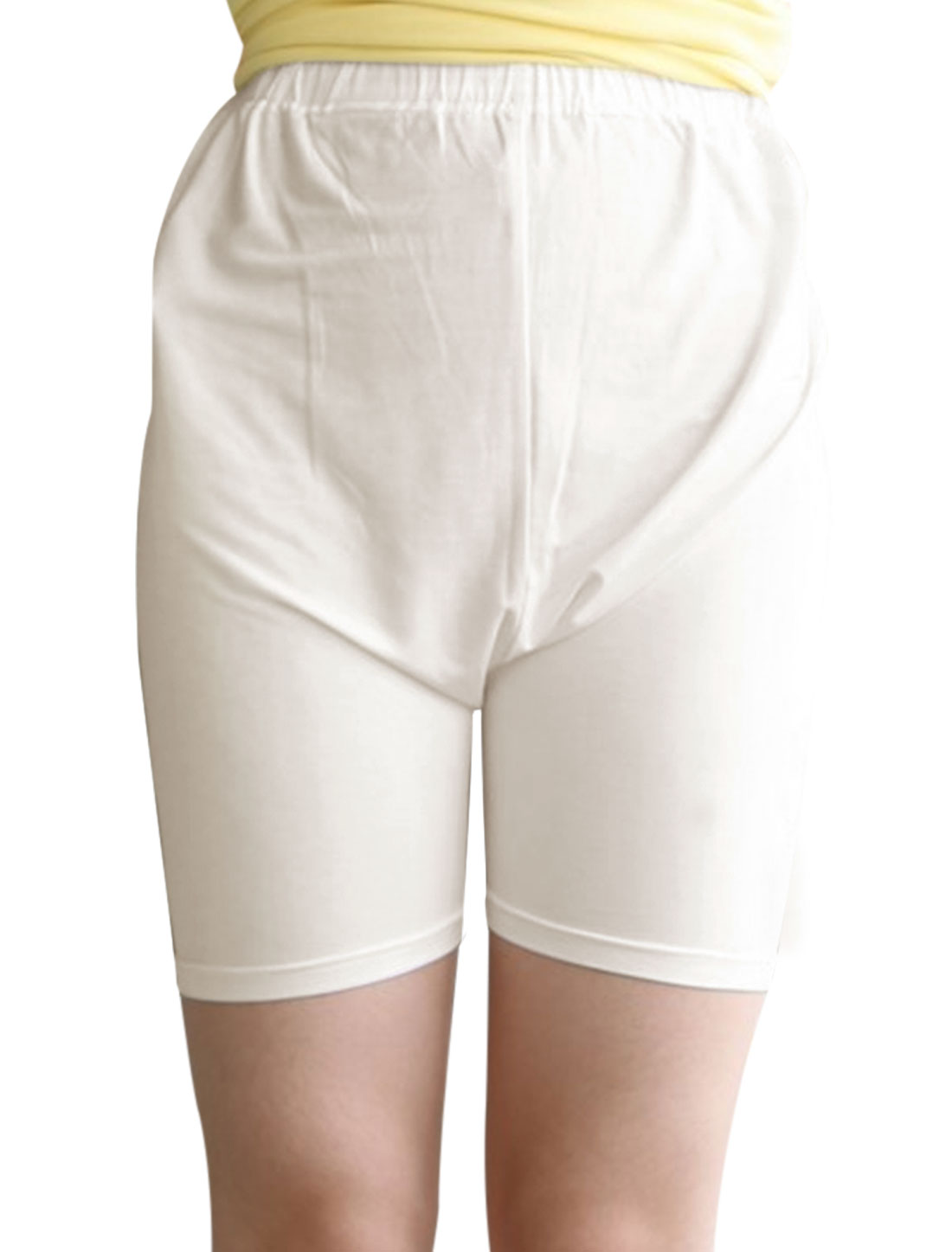 Maternity Drawstring Button Adjustable Waist Soft Casual Shorts White XS
