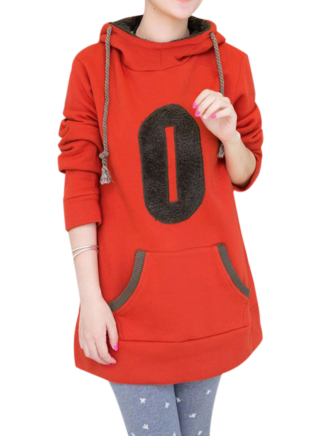Cozy Fit Soft Drawstring Hooded Fleece Lined Hoodie for Maternity Rust L