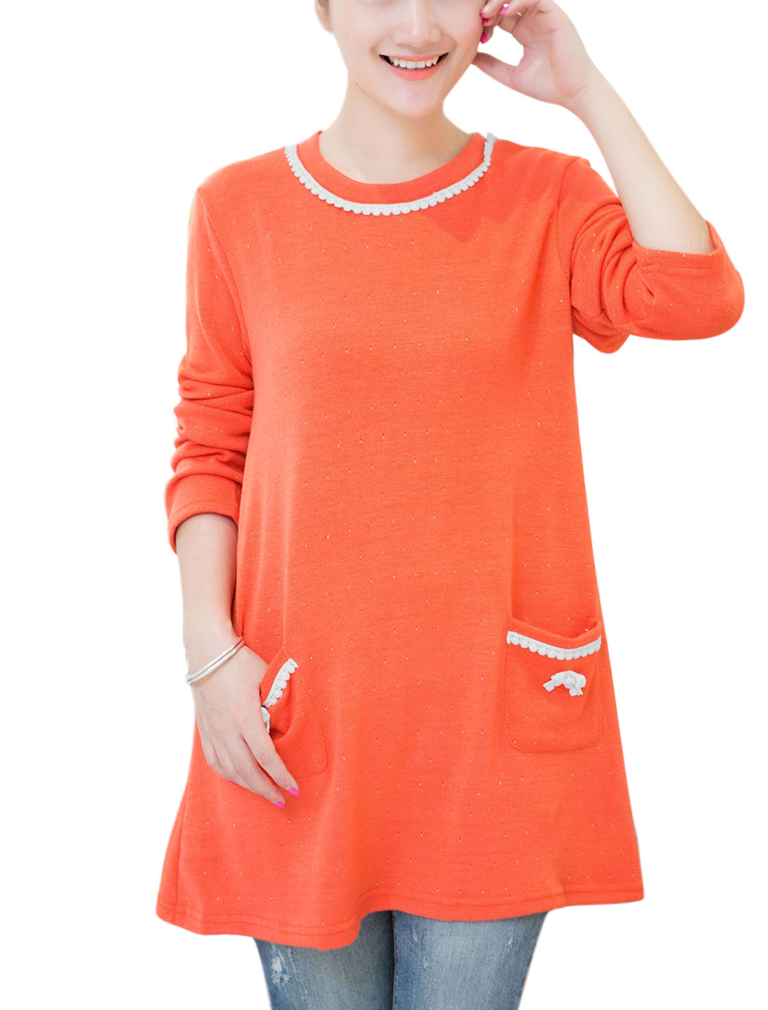 Maternity Applique Detail Two Vertical Pockets Front Casual Knit Top Orange Red S