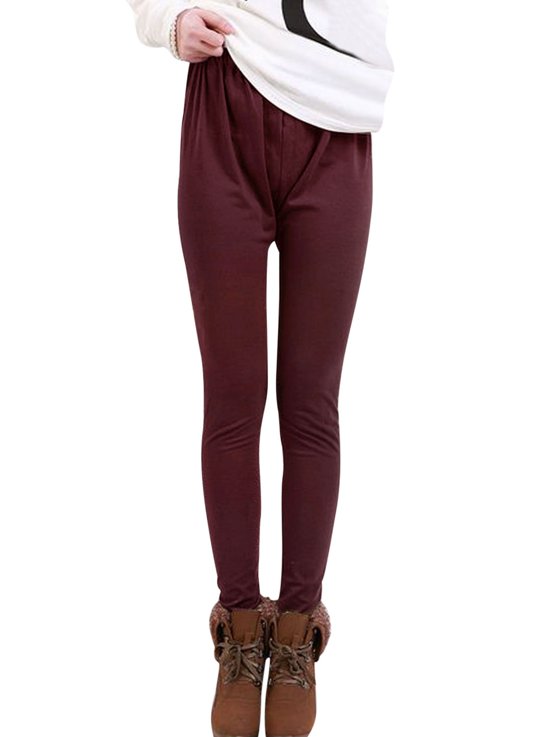 Motherhood Drawstring Button Adjustable Waist Pure Design Leggings Burgundy XS