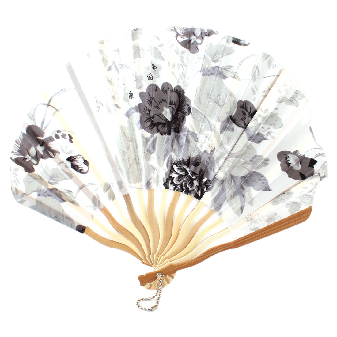 Lady Bamboo Ribs Flower Print Seashell Shape Folding Hand Fan White Gray