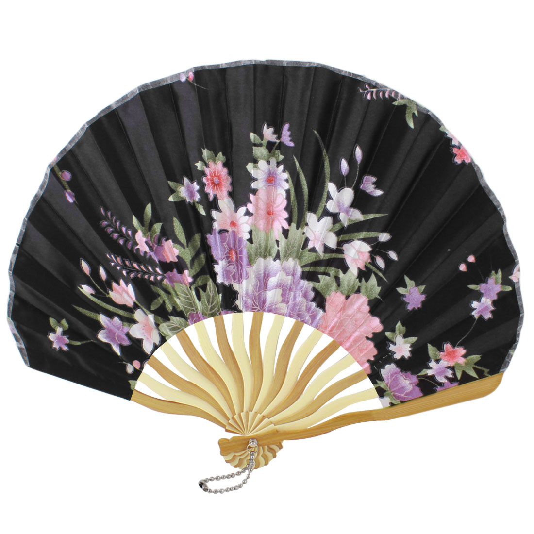 Lady Beige Bamboo Ribs Flower Printed Seashell Shape Folding Hand Fan Black