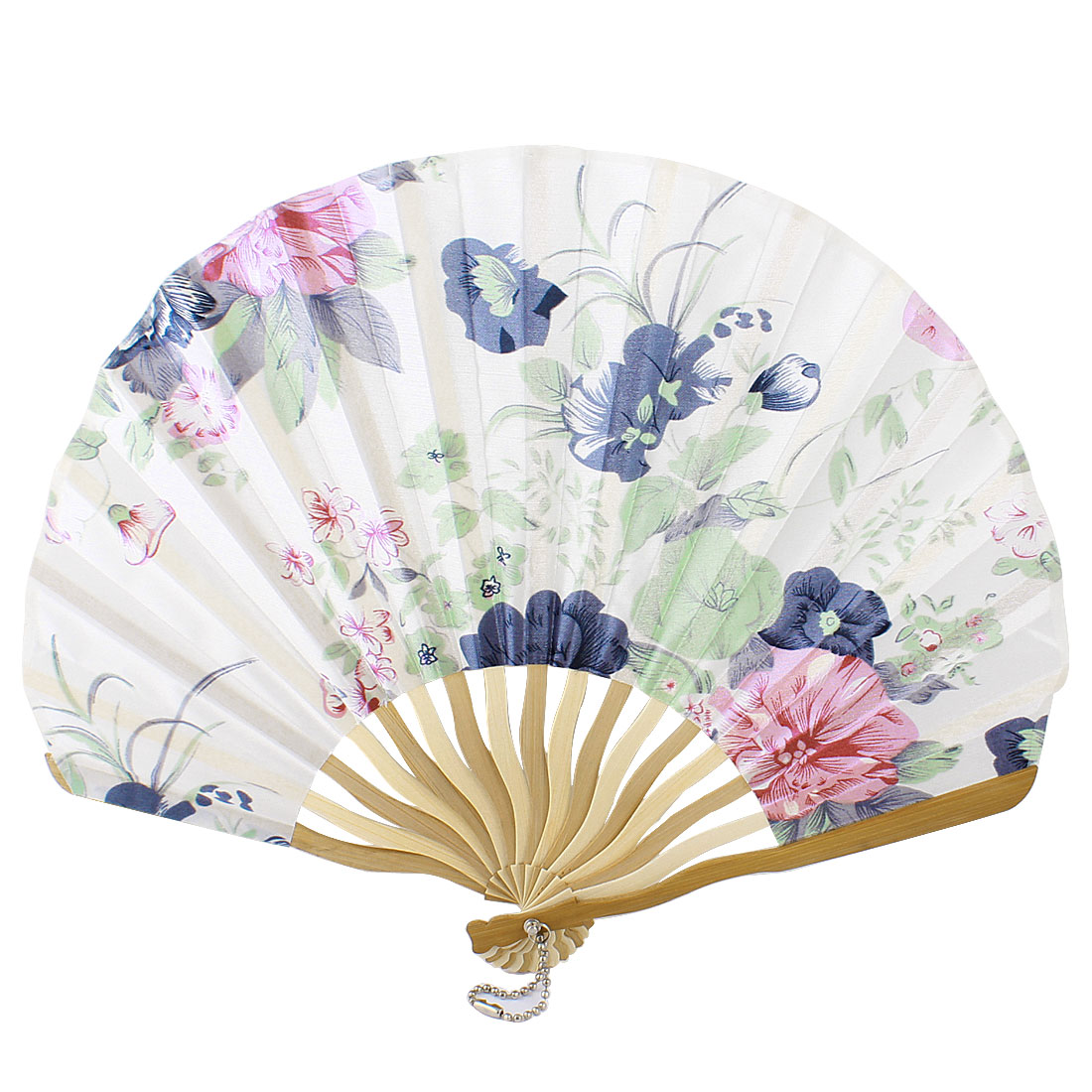 Multicolor Nylon Flowers Print Curve Bamboo Handle Folded Hand Fan