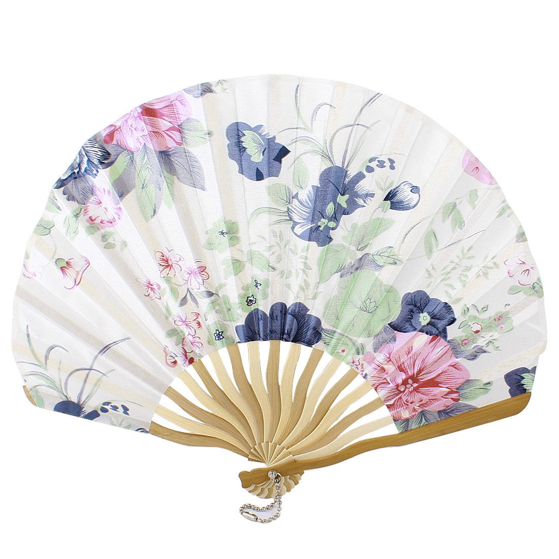 Multicolor Nylon Flowers Print Curve Bamboo Handle Folded Hand Fan
