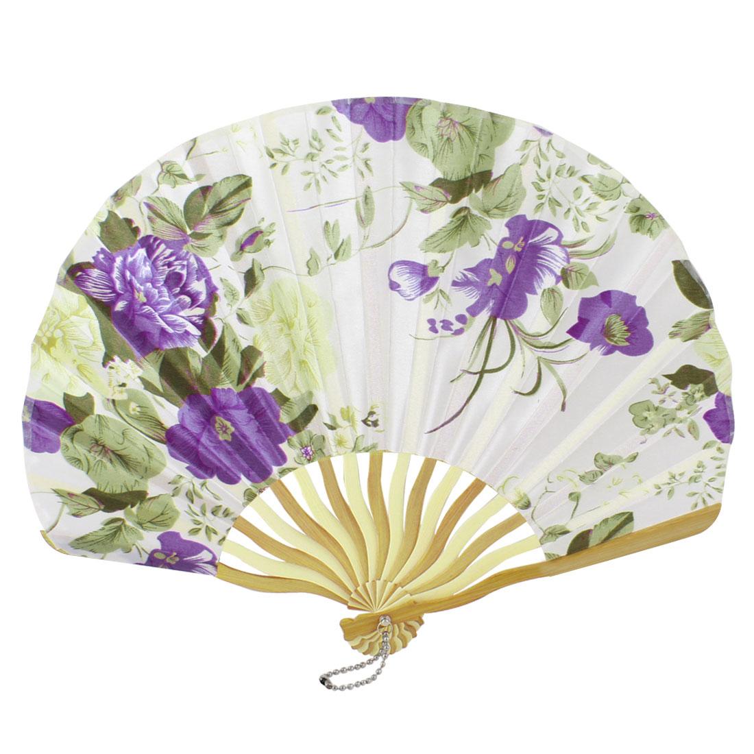 Beige Bamboo Ribs Purple Flower Printed Seashell Shape Folding Hand Fan