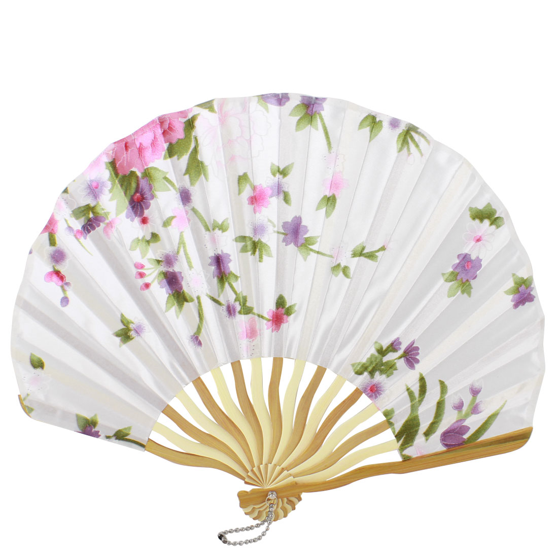 Beige Bamboo Ribs Flower Printed Seashell Shape Folding Hand Fan White