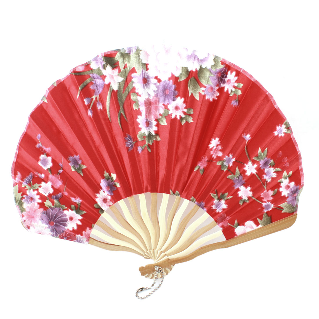 Red Nylon Floral Print Curve Bamboo Handle Folded Hand Fan